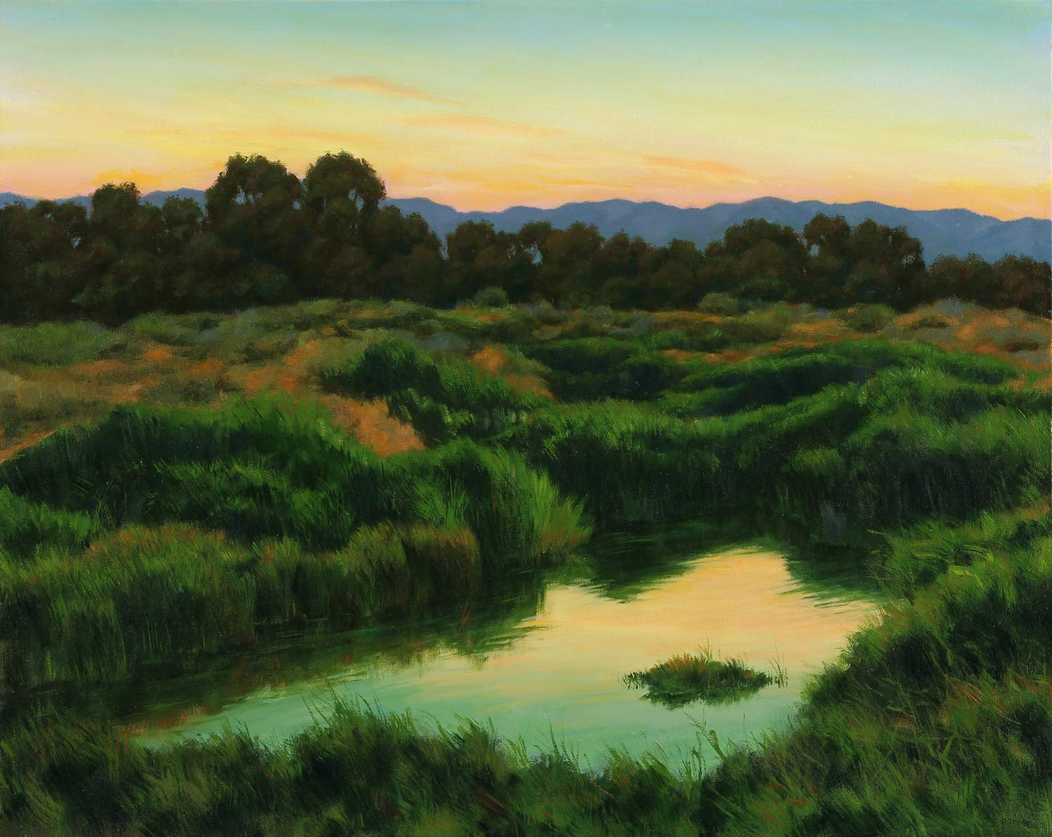 Baylands Evening Magic, landscape painting by Promessi