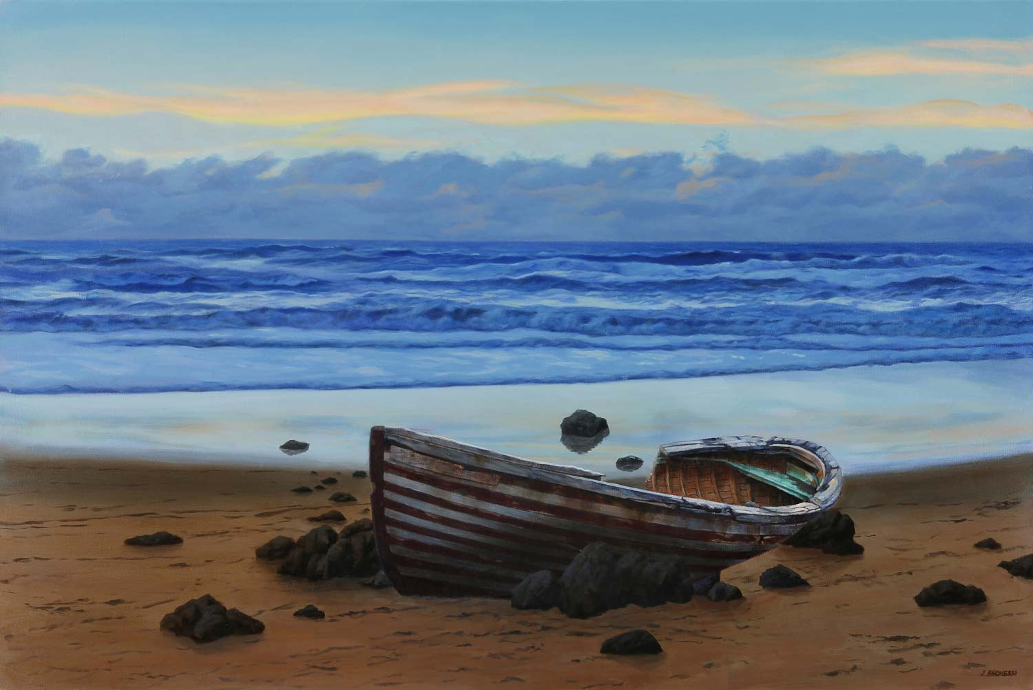 Boat Wreck on the Beach, painting by Promessi
