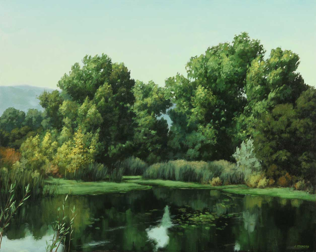 Coyote Creek Cottonwoods, landscape painting by Promessi