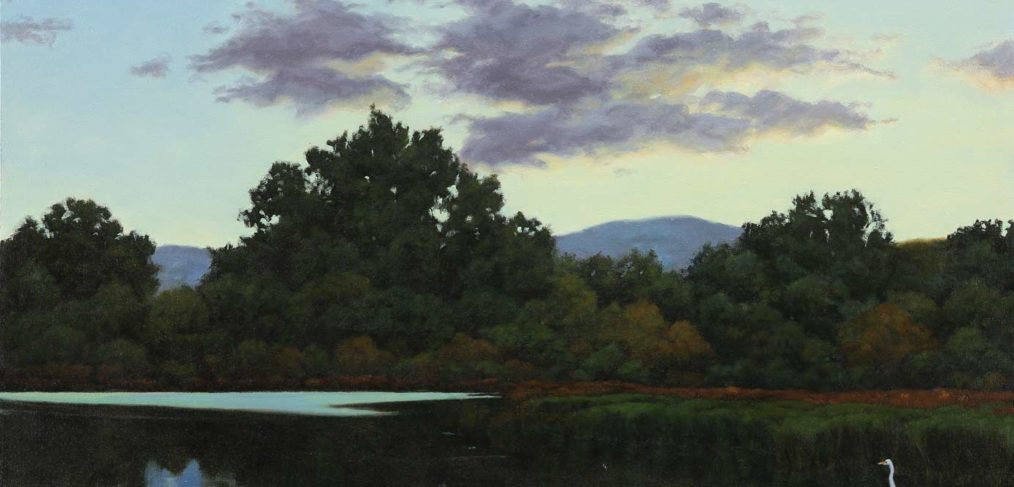 Egret at Twilight, Baylands painting by Jim Promessi
