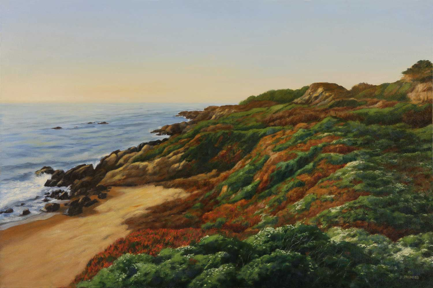 Ice Plant, Seascape painting by Jim Promessi