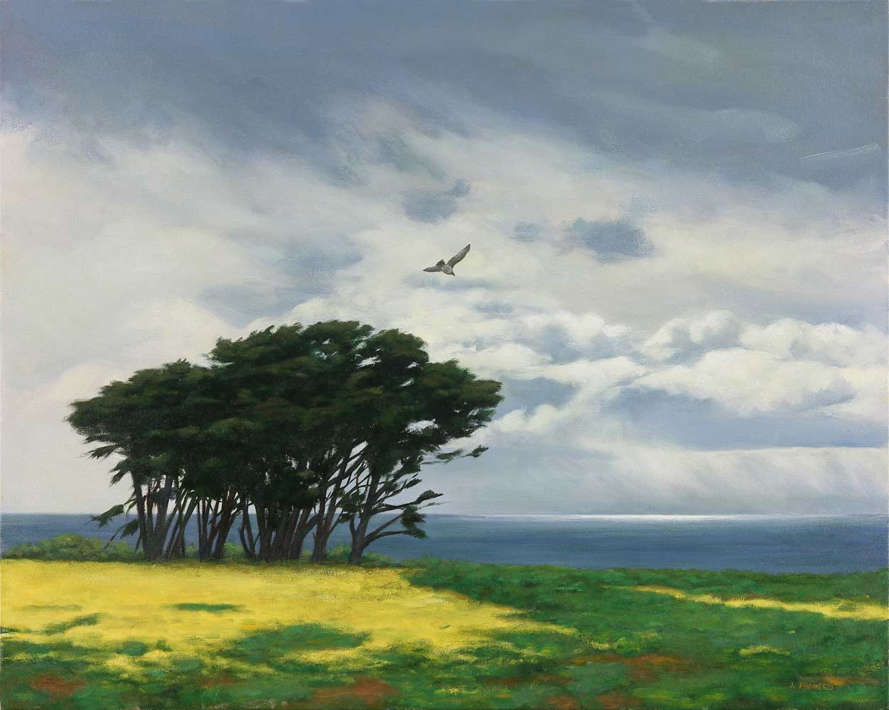 Lone Gull, Painting by Jim Promessi