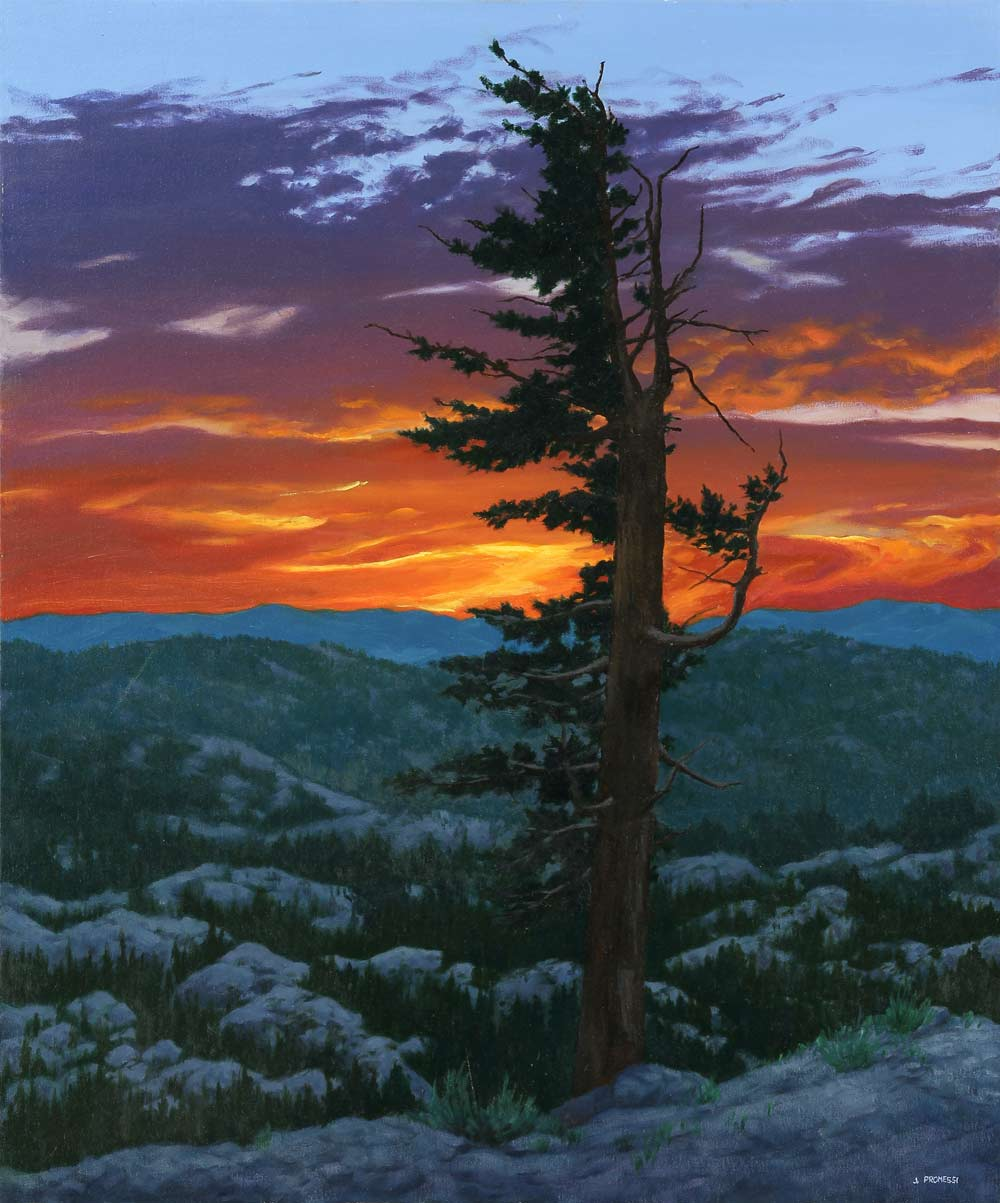 Red Sunset, oil painting by Jim Promessi, 36 x 30""