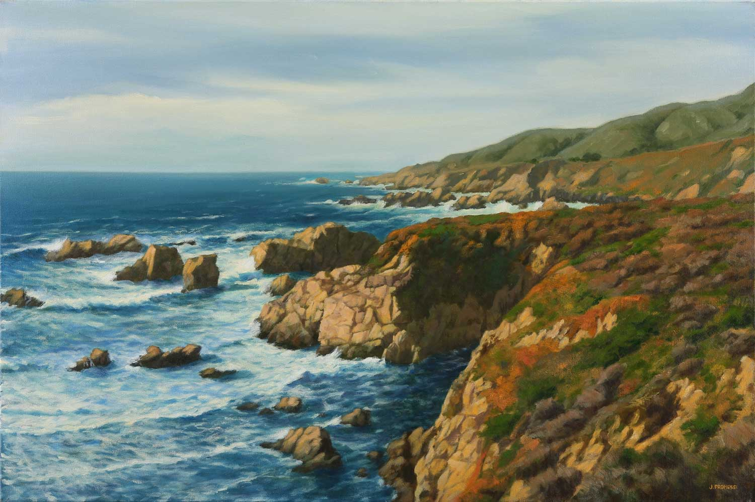 """Soberanes Point, oil painting by Jim Promessi, 24 x 36"""""""
