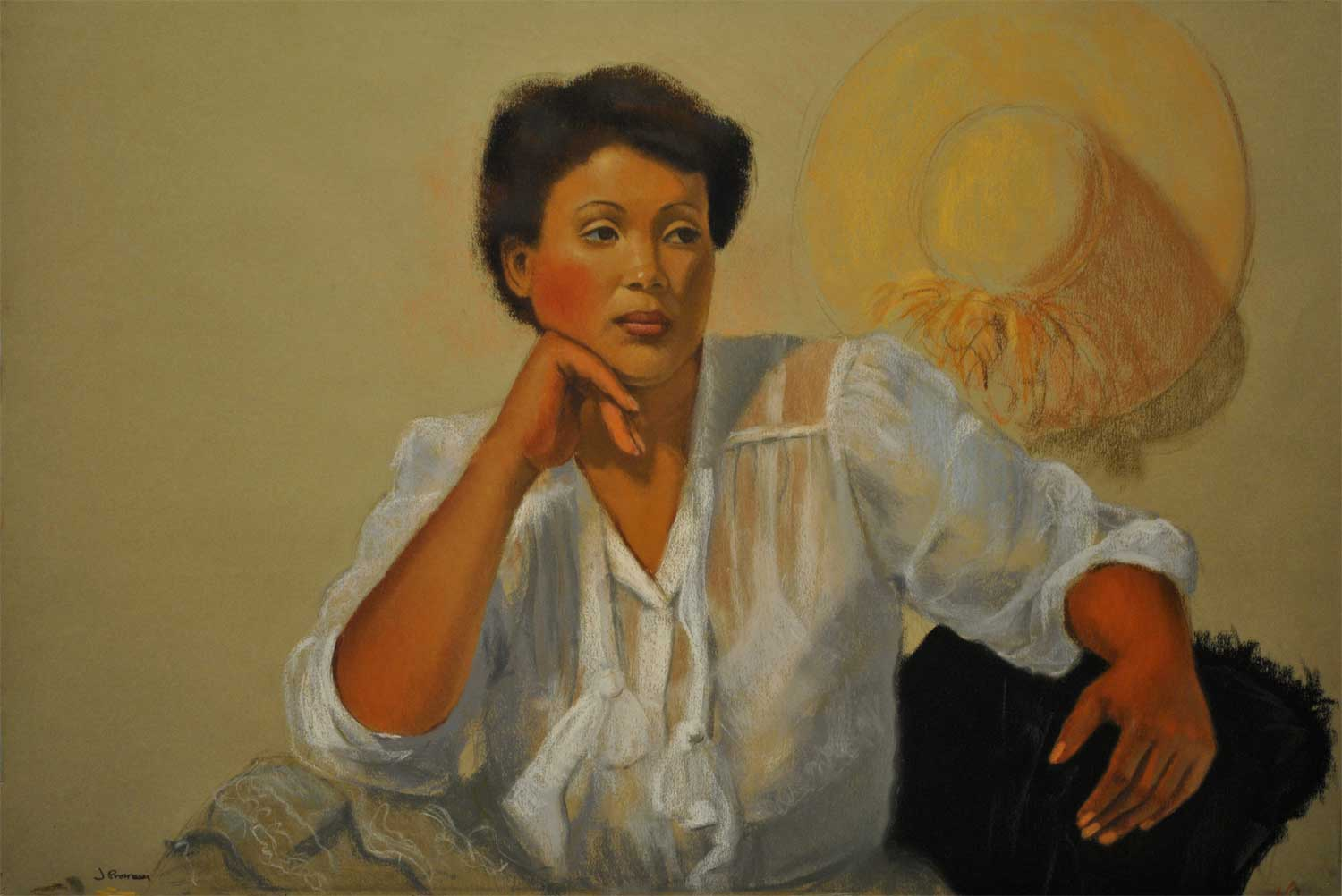 Figure with Straw Hat, pastel portrait by Jim Promessi
