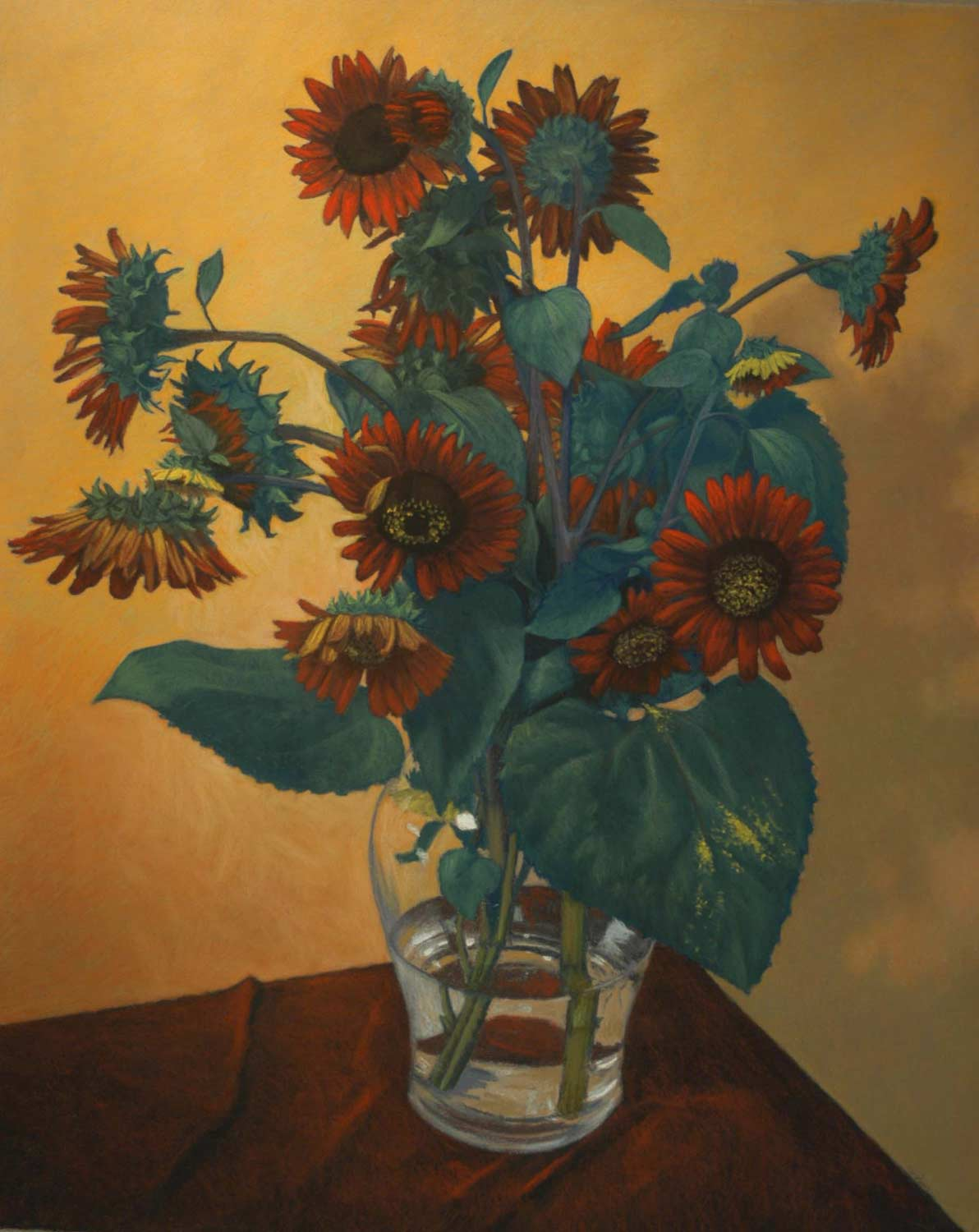 Red Sunflowers, pastel by Jim Promessi
