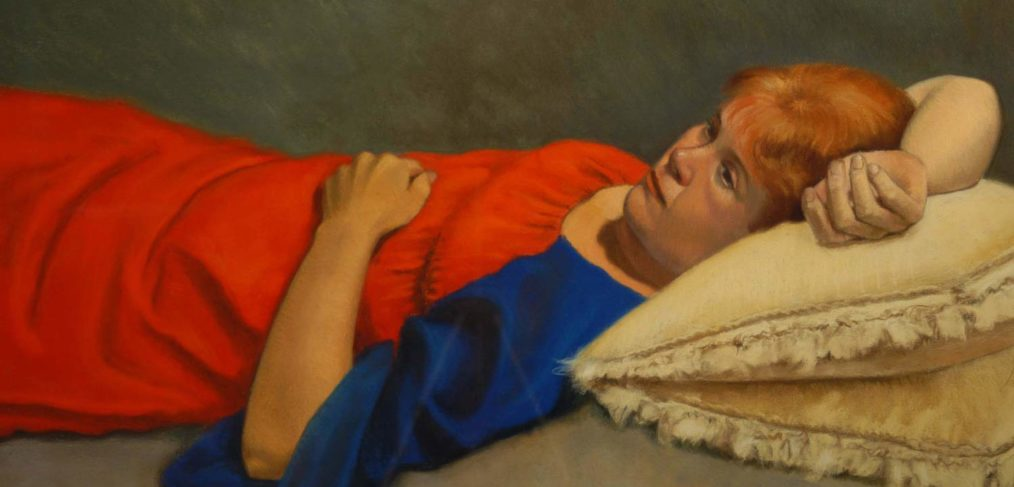 Woman in Red Dress, pastel portrait by Jim Promessi