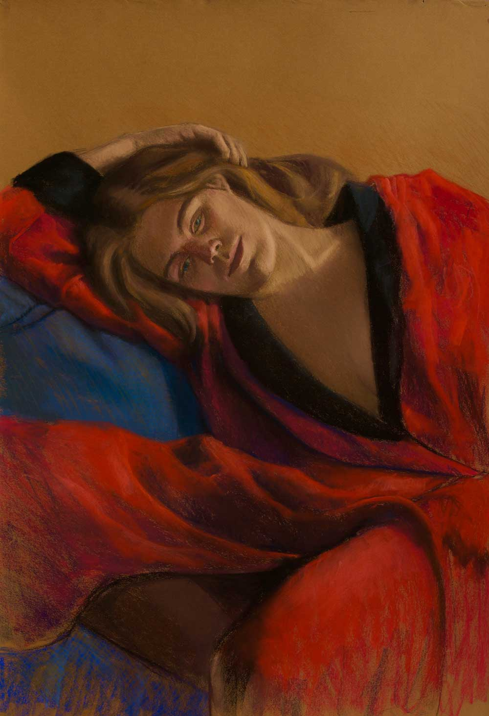 Red Robe 22x30, pastel by Promessi