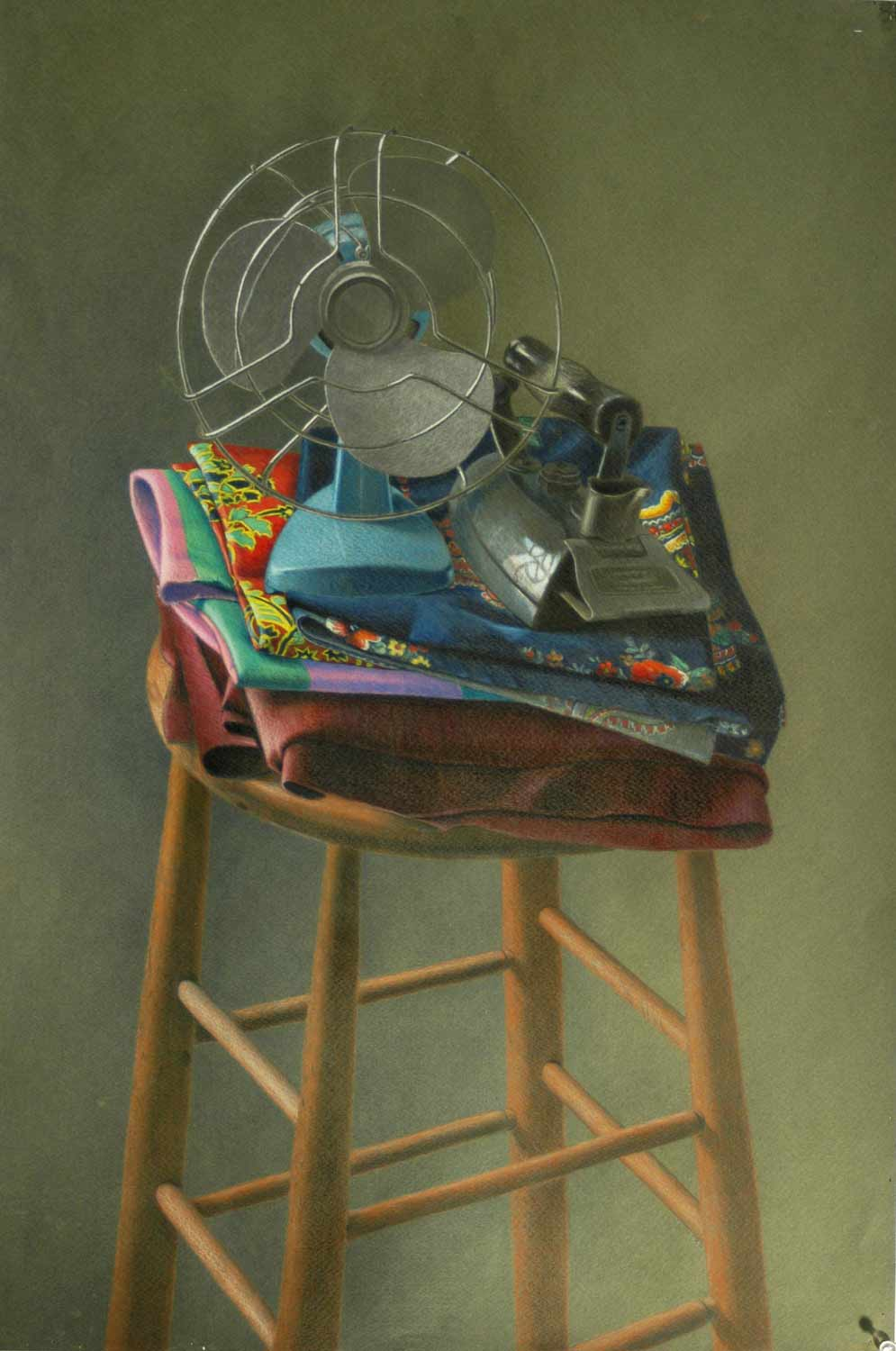 Fan & Iron, 31 x 21 in., Color pencil on paper